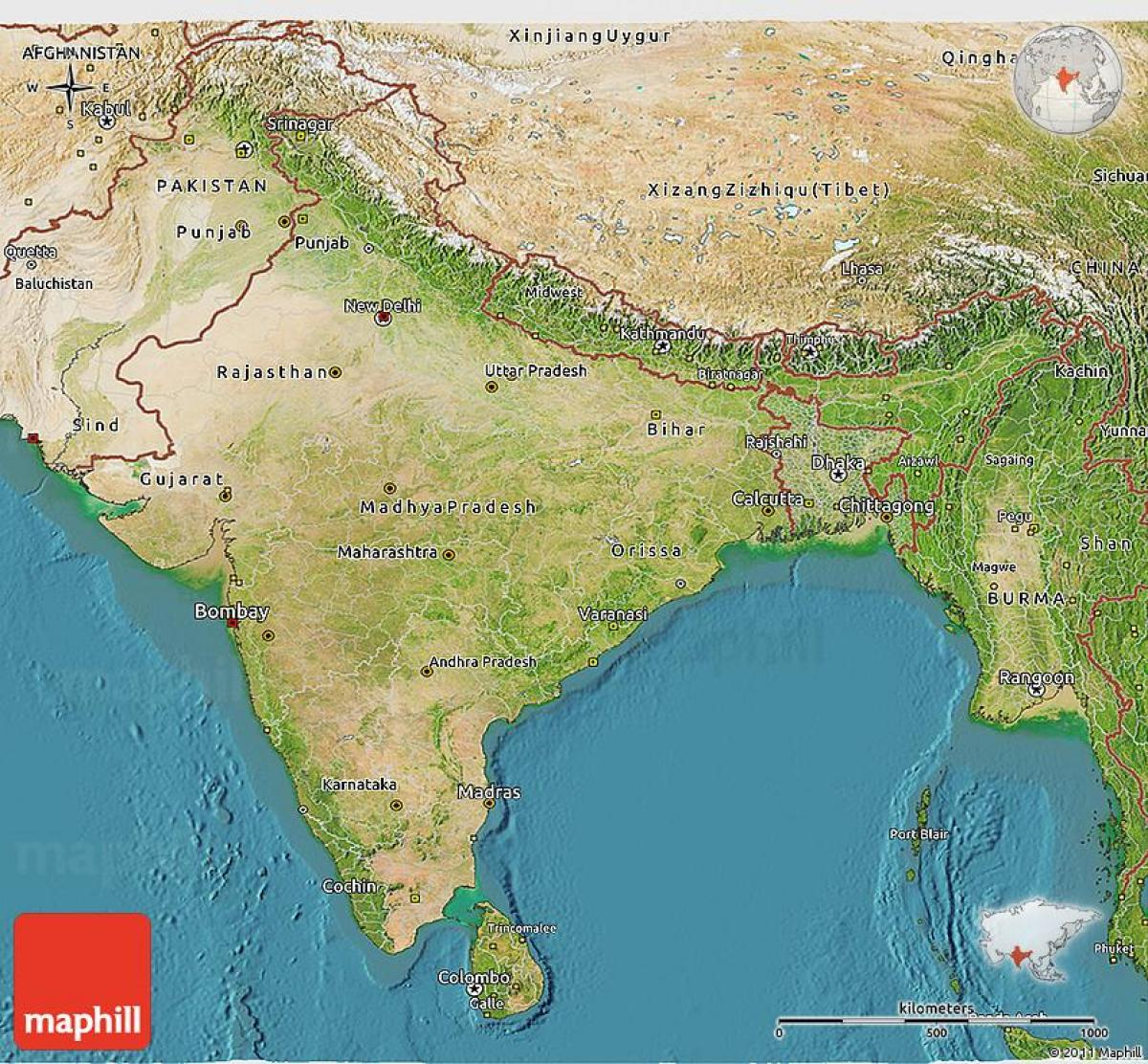 Harta Satelit In India Harta India Prin Satelit Asia De Sud Asia